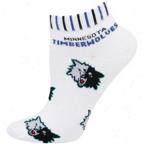 Minnesota Timberwolves Ladies White All Over Team Logo Ankle Socks