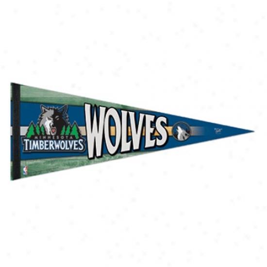 Minnesota Timberwolves Navy Blue 12'' X 30'' Premium Felr Pennant