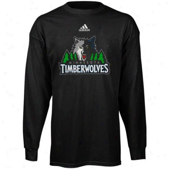Minnesota Timberwolves Shirt : Adidas Minnesota Timberwolves YouthB lack Primary Logo Long Sleeve Shirt