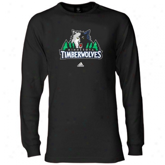 Minnesota Timberwolves Tees : Adidas Minnesota Timberwolves Black Throughout Sleeve Thermal Tees