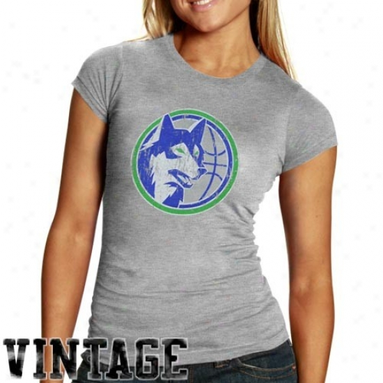 Minnesota Timberwolves Tees : Minnestoa Timberwolves Ladies Ash Basic Throwback Logo Triblend Tees