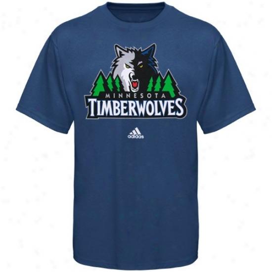 Minnesota Timberwolves Tshirt : Adidas Minnesota Timberwolves Blue Primary Logo Tshirt