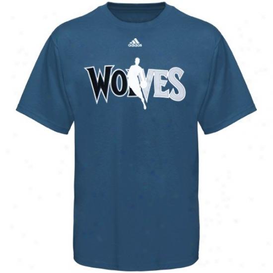 Minnesota Timberwolves Tshirt : Adidas Minnesota Timberwolves Slate Blue 2010 Draft Dribbler Tshirt