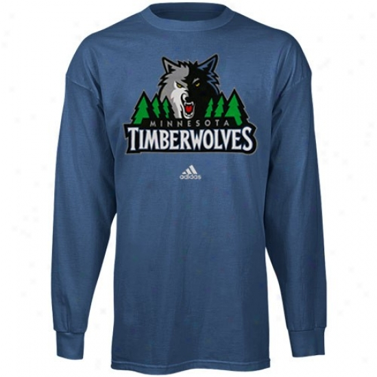 Minnesota Timberwolves Tshirts : Adidas Minnesota Timberwolves Blue Full Primary Logo Long Sleeve Tshirts
