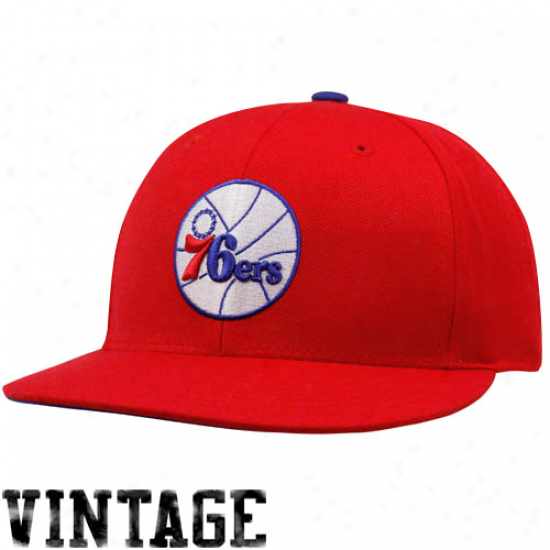 Mitchell & Ness Philadelphia 76ers Red Vintage Logo Fitted Hat