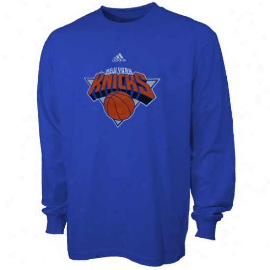 N. Y. Knick Apparel: Adidas N. Y. Knick Royal Blue Youth Radical Long Sleeve T-shirt