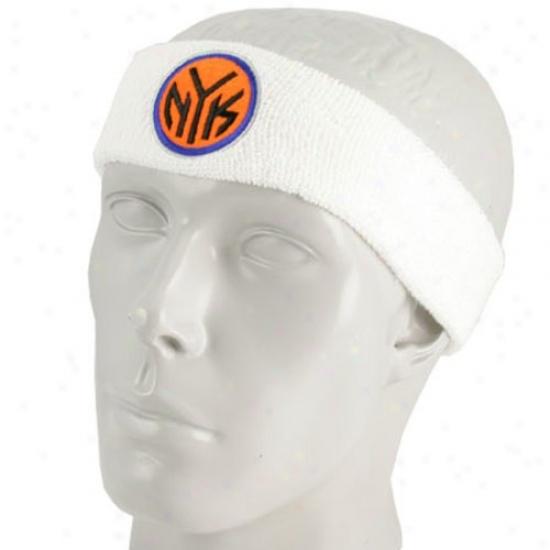 N Y Knick Gear: Adidas N Y Knick White Team Logo Headband