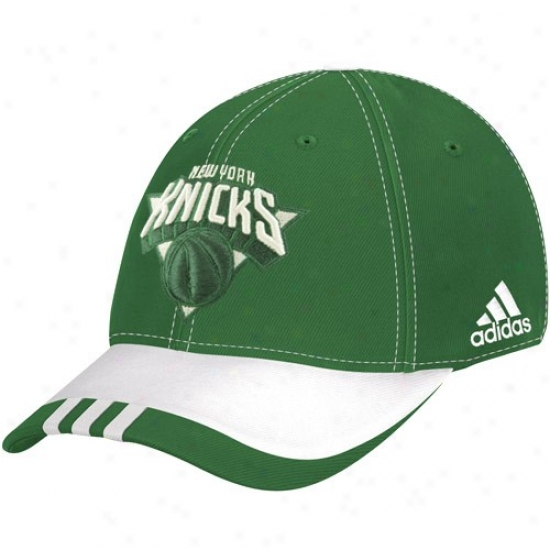 N Y Knicks Gear: Adidas N Y Knicks Green Attached Court St. Patrick's Day Flex Fit Hat