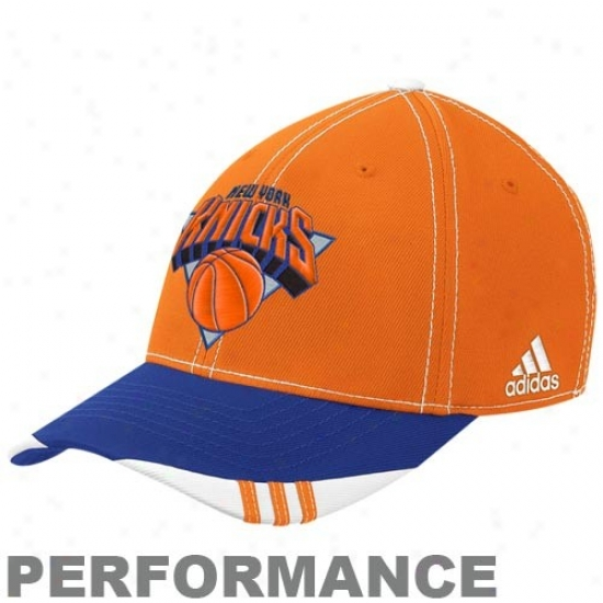 N Y Knicks Merchandise: Adidas N Y Knicks Orange-royal Blue Official On Royal household Performanec Flex Fit Hat