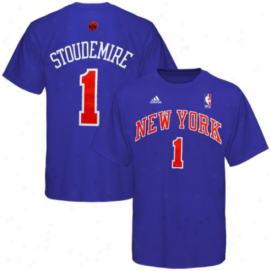 N Y Knicks Tese : Adidas N Y Knicks #1 Amare Stoudemire Youth Royal Blue Net Player Tees