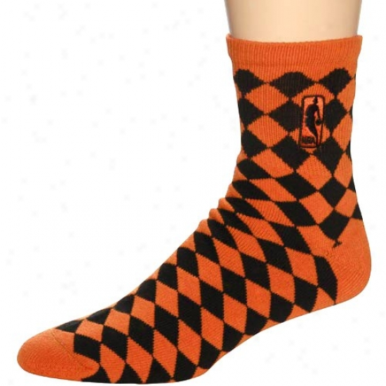 Nba 45 Orange-black Degrees Diampnd-pattern Socke