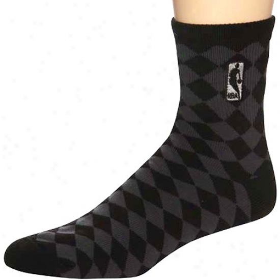 Nba Black 45 Degrees Diamond-pattern Socks