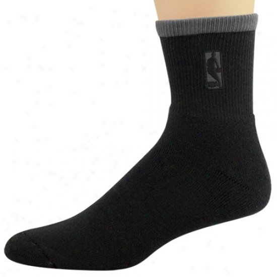 Nba Black-charcoal Stripe Logoman Ankle Socks