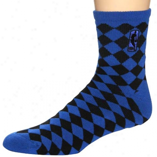 Nba Blue-black 45 Degrees Daimond-pattern Socks