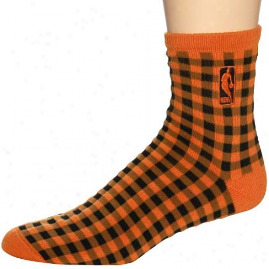 Nba Orange-black 45 Degrees Check-pattern Socks