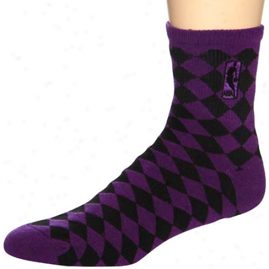 Nba Purple-black 45 Degrees Diamond-pattern Socks