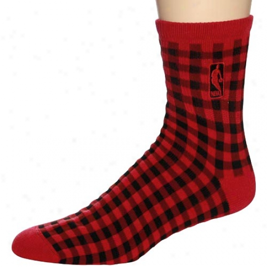 Nba Red-black 45 Degrees  Check-pattern Socks