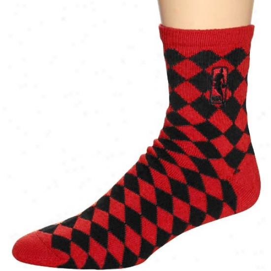 Nba Red-black 45 Degrees Diamond-pattern Socks