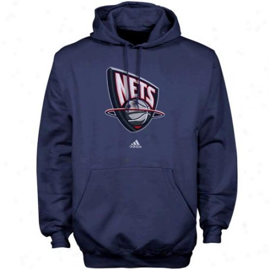 Nets Fleefe : Adidas Nets Navy Blue Primary Logo Fleece