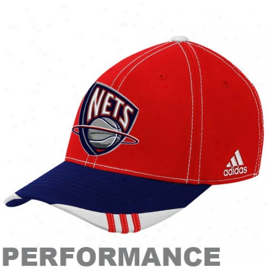 Nets Hat : Adidas Nets Red-navy Blue Official On Court Performance Flex Fit Hat