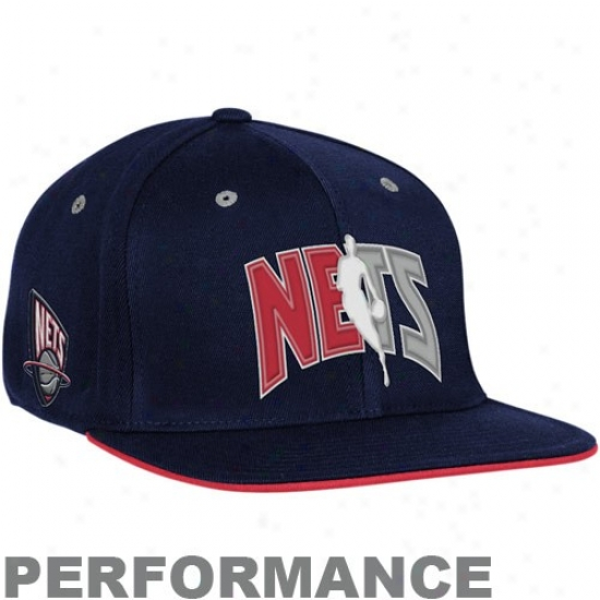 Nets Hats : Adidas Nets Navy Blue Official Detach Day Fitted Hats