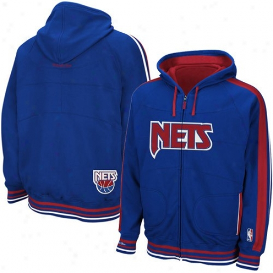 Nets Hoodys : Mitchell & Ness Nets Royal Blue Court Vision Full Zip Hoodys
