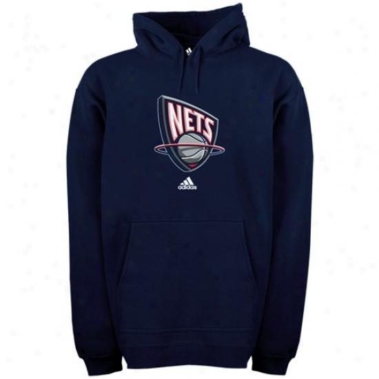 Nets Stuff: Adidas Nets Navy Blue Full Primary Logo Hoody Sweatshirt