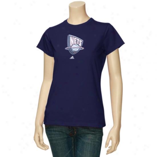 Unaccustomed Jersey Net Attire: Adidas New Jersey Net Navy Blue Ladies Sugar T-shirt