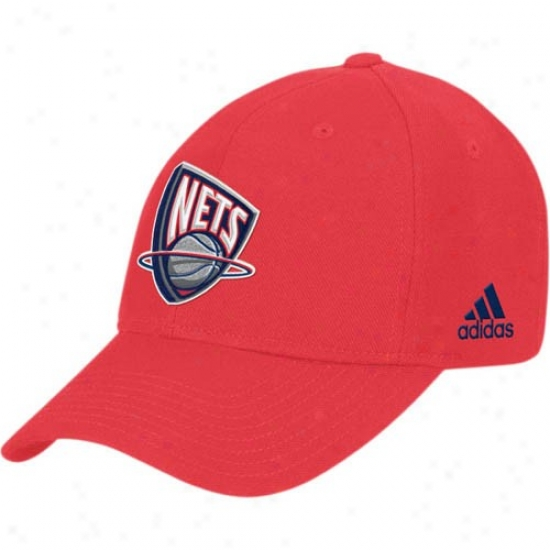 New Jesrey Net Gear: Adidas New Jersey Net Red Basic Logo Cotton Adj8stable Hat