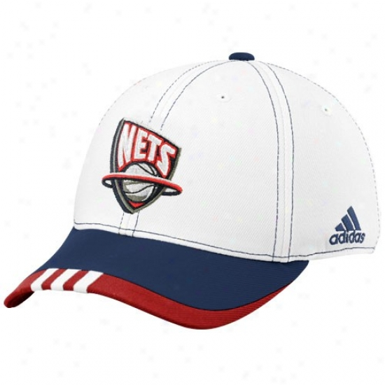 New Jersey Net Hats : Adidas New Jersey Net White On Court Flex Fit Hats