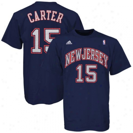 New Jersey Net Tees : Adidas Starting a~ Jersey Net #15 Vince Carter Navy Blue Player Tees