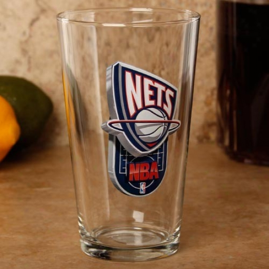 New Jersey Nets 17 Oz. Enhnaced Hi-def Mixing Glass