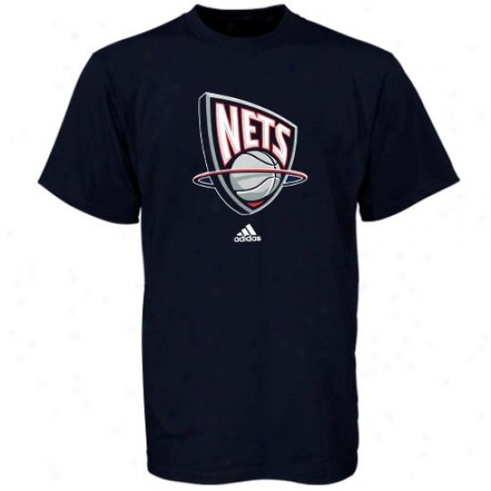 New Jerse Nets Apparel: Adidas New Jersey Nets Boy Navy Blue Full Primary Logo T-shirt