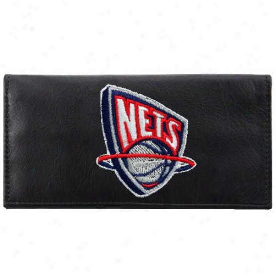 New Jersey Nets Black Leather Embroidered Checkbook Cover
