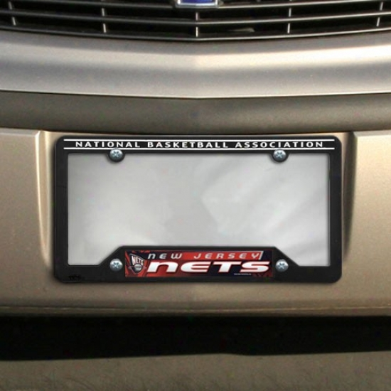 New Jersey Nets Black Plastic License Plate Frame