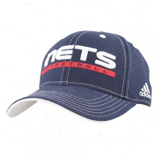New Jersey Nets Caps : Adidas New Jersey Nets Navy Blue Official Team Pro Caps