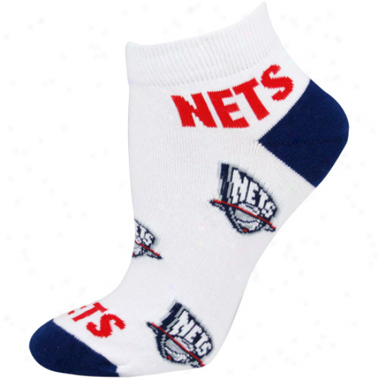 New Jersey Netq Lzdies White All Over Team Loho Ankle Sockw
