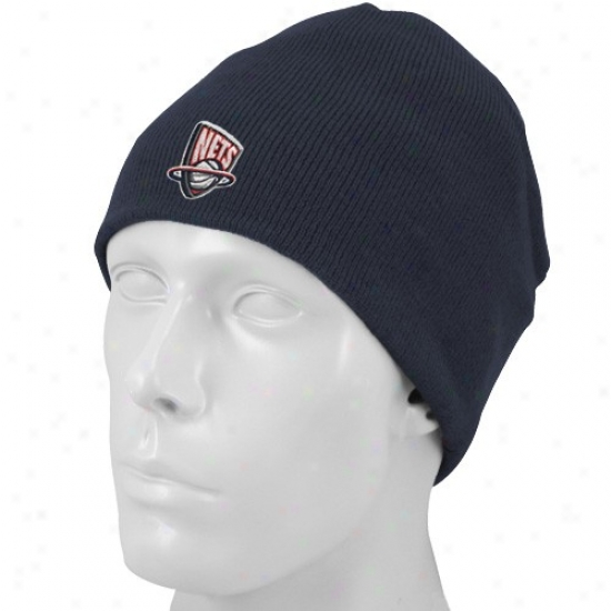 Recent Jersey Nets Merchandise: Adidas New Jersey Nets Navy Blue Basic Logo Knit Scully Knit Beanie