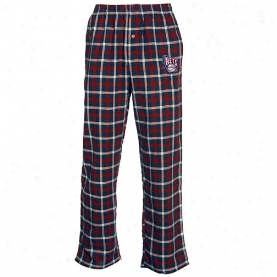 New Jersey Nets Navy Azure Plaid Tailgate Flannel Pajama Pants
