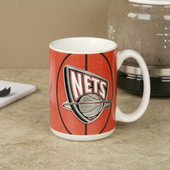 New Jersey Nets Pewter Logo Basketball Coffee Mug