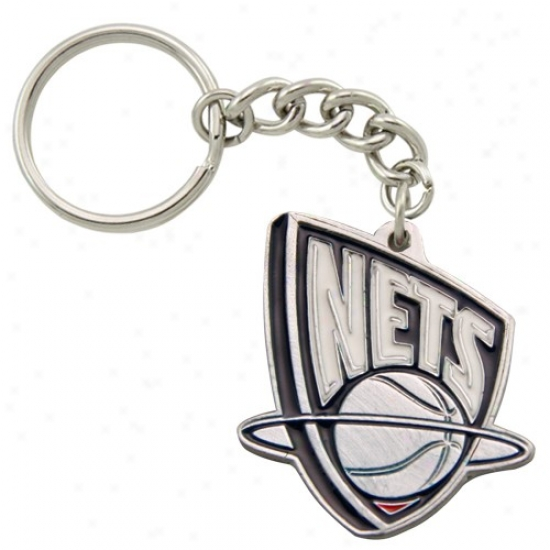 New Jersey Nets Pewter Primary Logo Keychain