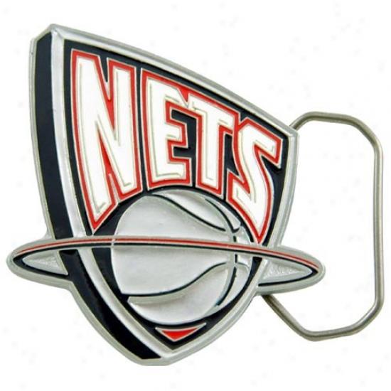 New Jersey Nets Pewter Team Logo Belt Buckle