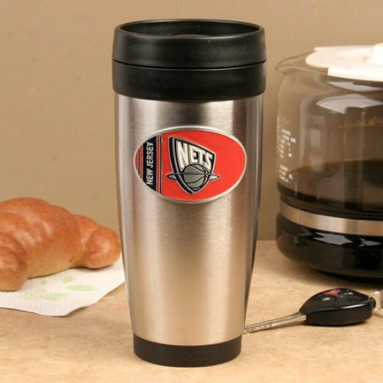 New Jersey Nets Spotless Steel Team Logo Travel Tumbler