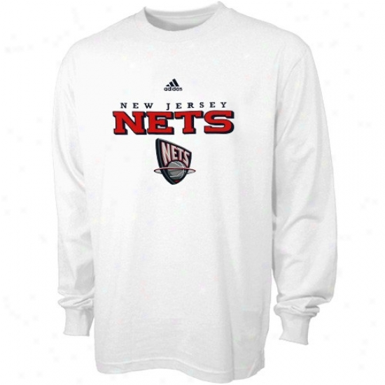 New Jersey Nets Tshirts : Adidas New Jersey Nets Pale True Long Sleeve Tshirts