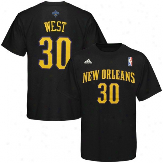 New Orleans Hornet Dress: Adidas New Orleans Hornet #30 David West Black Player T-shirt
