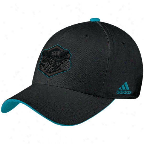 New Orleans Hornet Caps : Adidas New Orleans Hornet Black Tonal Flex Fit Caps