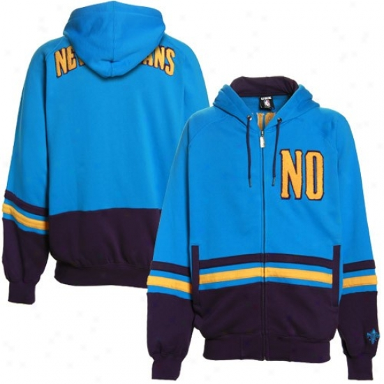 New Orleans Hornet Hoodys : New Orleans Hornet Teal-purple Chaunce Full Zip Hoodys