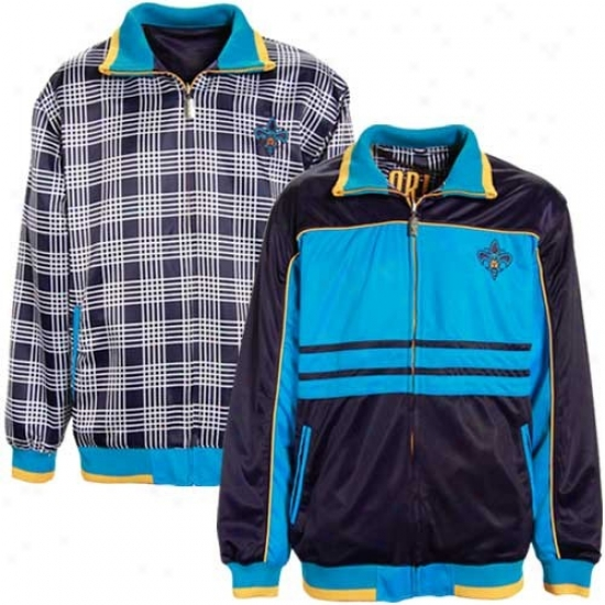 New Orleans Hornet Jackets : New Orleans Hornet Creole Blue-navy Blue Sac Reversible Track Jackets
