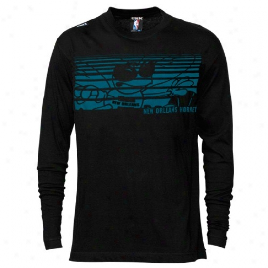 New Orleans Hornet Shirts : eNw Orleans Hornet Black Slash Graphic Long Sleeve Shirts