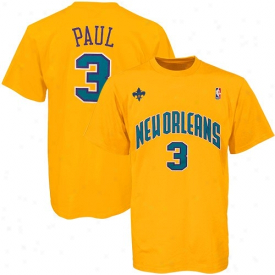 New Orleans Hornet T Shirt : Adidas New Orleans Hornet #3 Chris Paul Gold Net Players T Shirt